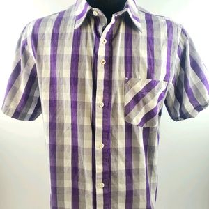 MEC Casual Button Purple Short Sleeve Shirt Sz XL
